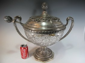 Antique German 900 Silver & Crystal Punch Bowl