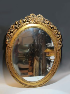 Huge Antique French Gilt Wood Oval Mirror