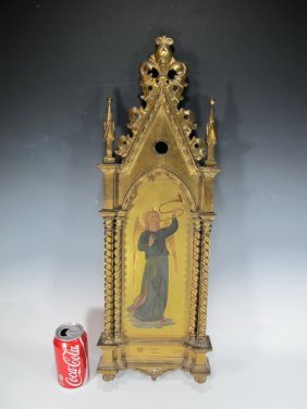 Antique Religious Gilt Wood Plaque