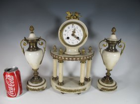 Antique French Bronze & Marble Clock Set