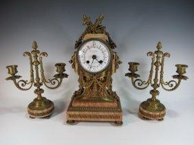 19th C French E. Lohse Bronze Clock Set