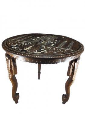Antique Islamic Inlaid Round Table