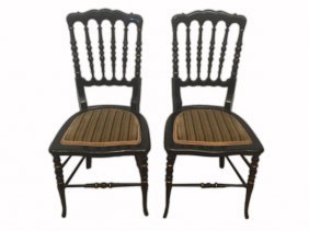 Elizabethan Pair Of Chairs Black Patinated