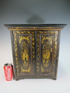 Antique Oriental Inlaid Wood Small Cabinet
