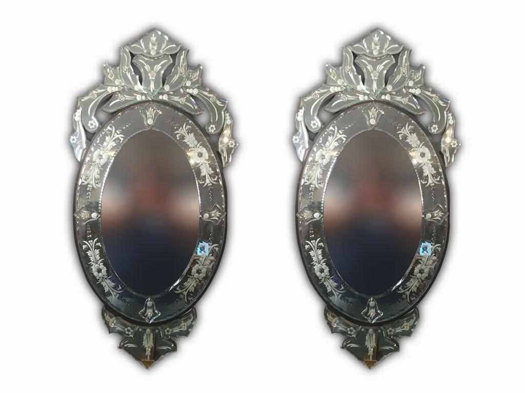 Beautiful Pair of Modern Venetian Oval Mirror