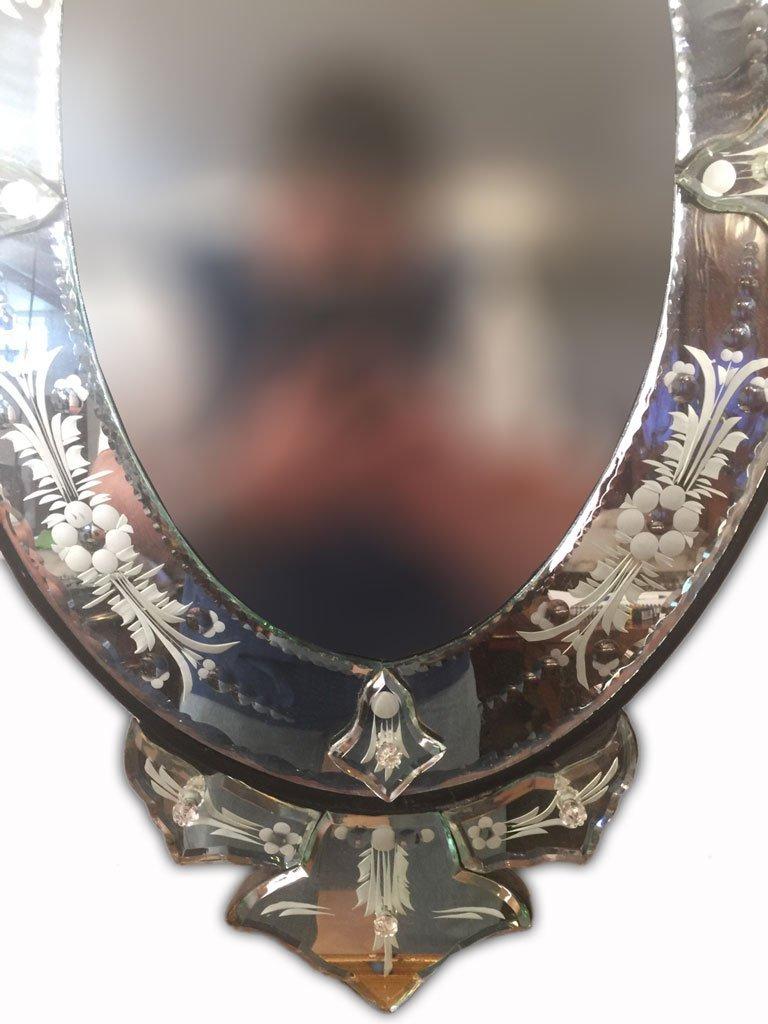Beautiful Pair of Modern Venetian Oval Mirror - 3
