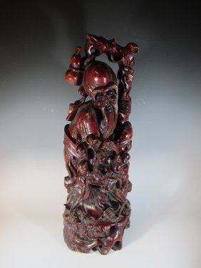 Antique Chinese Carved Cherry Wood Statue