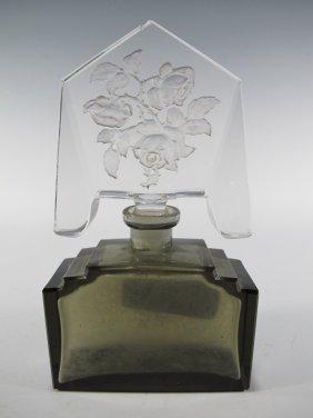 Art Deco Glass Perfurm Bottle, Czechoslovakia