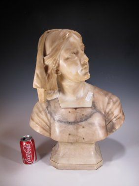 Antique European Alabaster Bust, Signed
