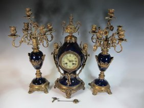 Antique Louis Xv/xvi Style Gilt Spelter Porcelain Clock