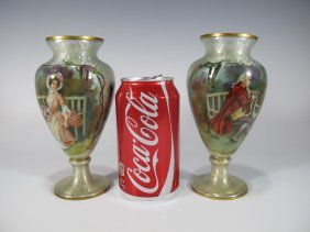 French Pair Of Enamel Miniature Vases, Signed