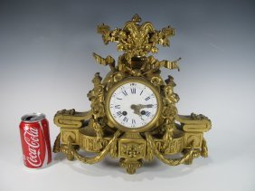 19th C French Japy Freres Bronze Clock