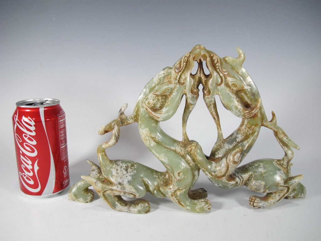 Antique Chinese hard stone dragons sculpture