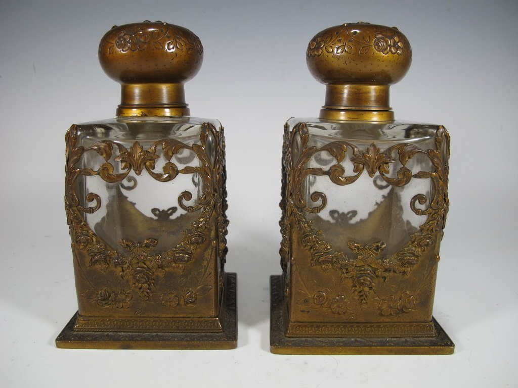 Baccarat style antique French pair of bronze & glass