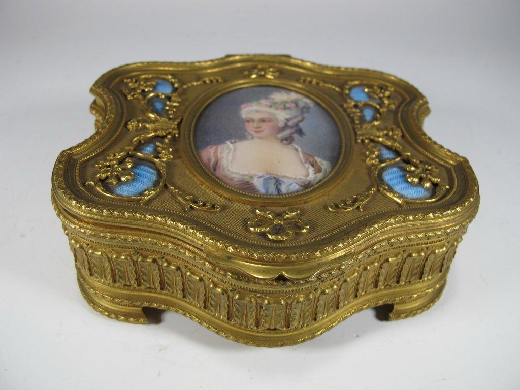 Antique French bronze & enamel box