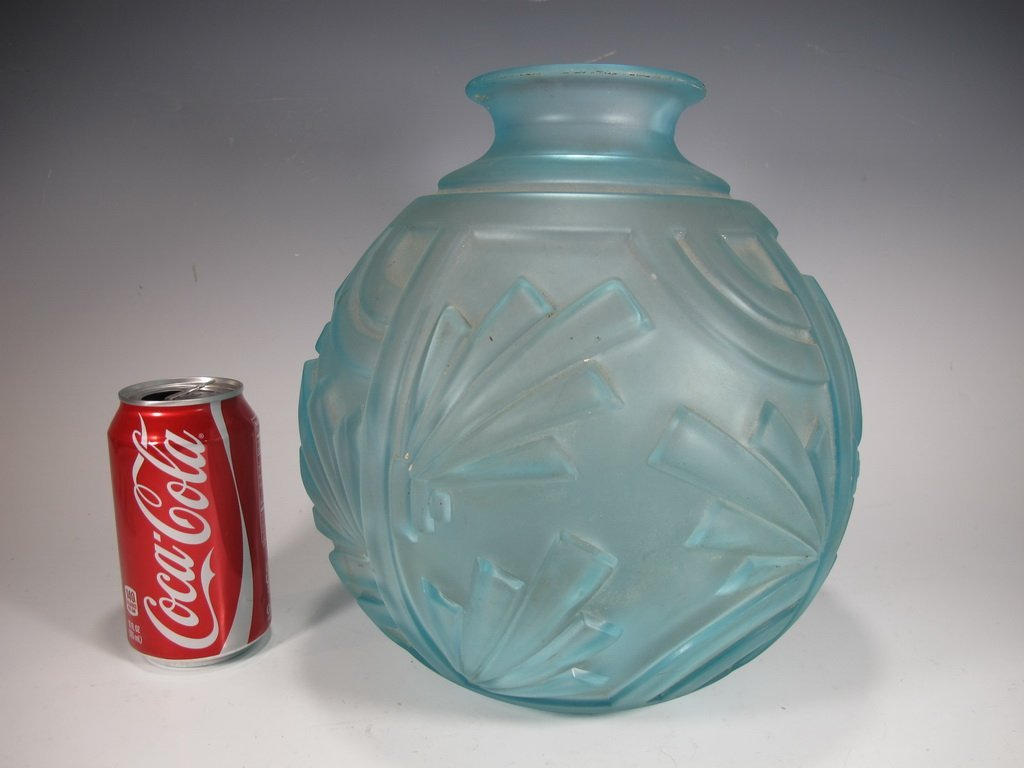 Old French Art Deco glass vase