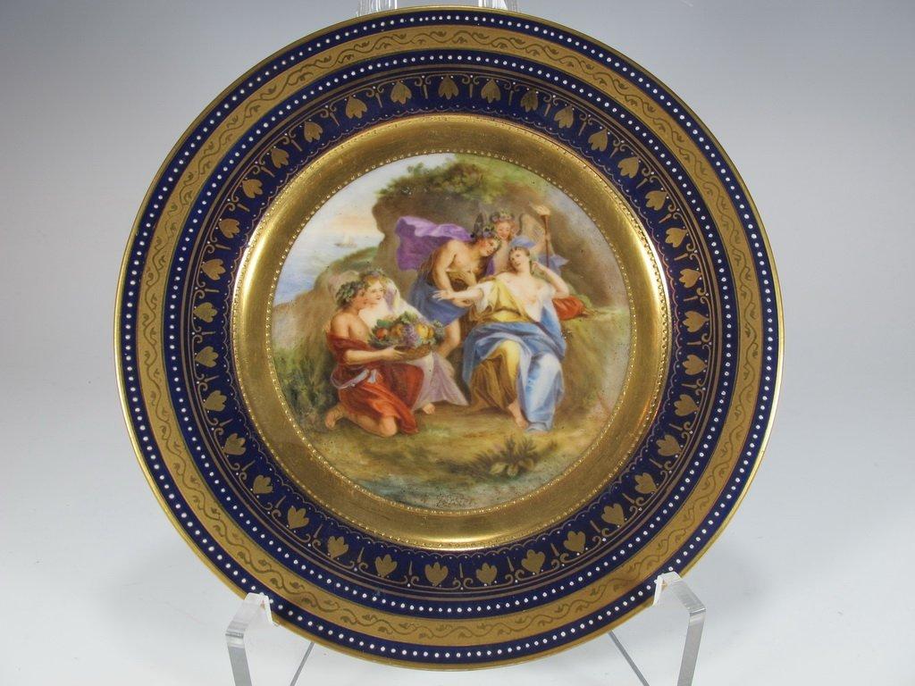 Antique Vienna porcelain plate, signed