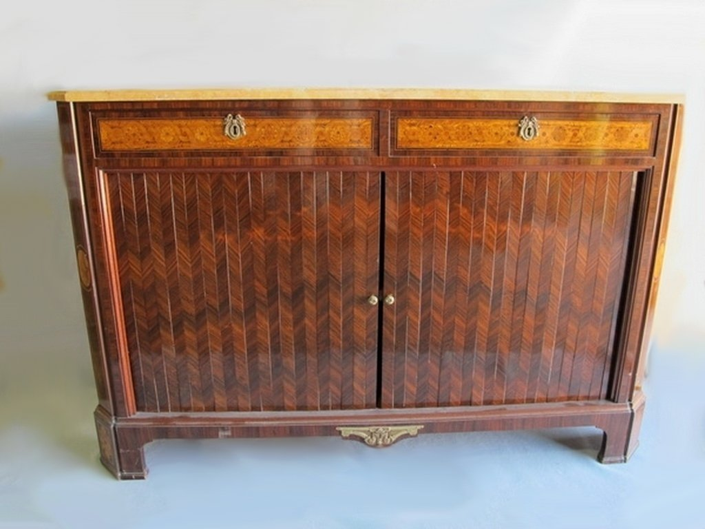 Antique French inlaid & bronze cabinet
