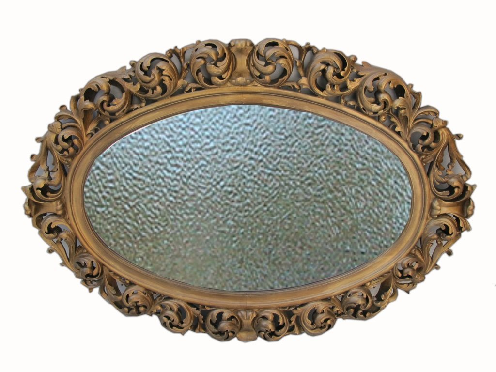 AMAZING FRENCH CARVED GILTED OVAL WALL MIRROR