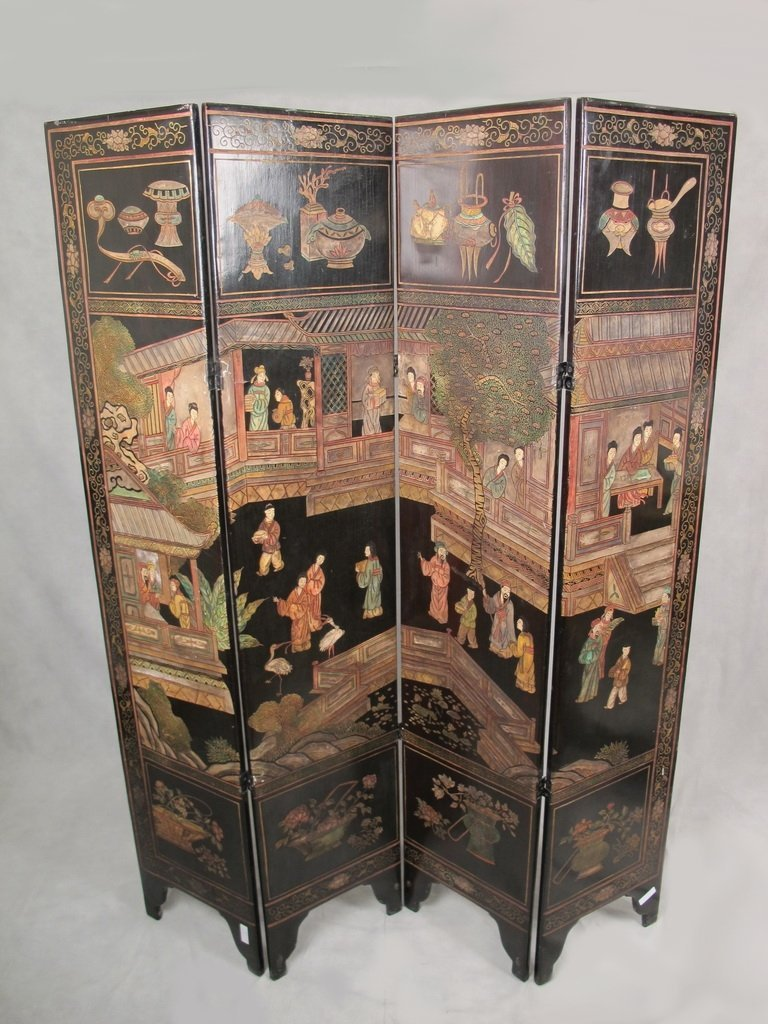Antique Chinese lacquer painted folding screen