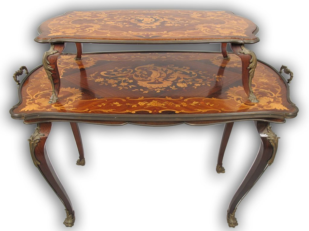 Antique French Louis XV style inlaid buffet table