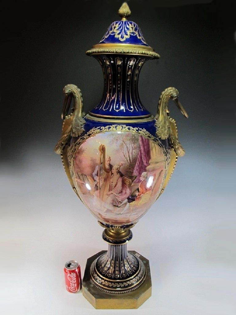 Huge 19th C French Sevres bronze & porcelain urn