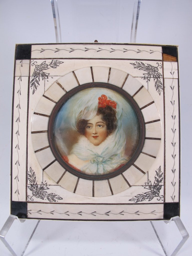 Antique European miniature painting, signed