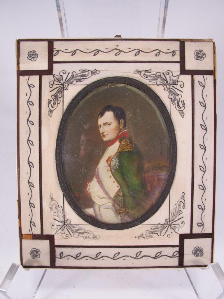 Antique European Napoleon miniature painting, signed