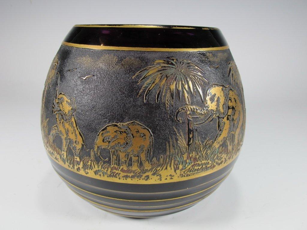 Antique Moser gilt carved glass vase, signed