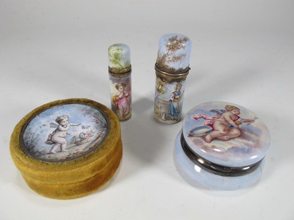 Antique European set of 4 enamel boxes