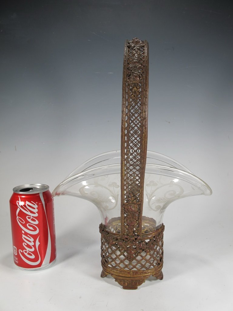 Baccarat style French bronze & crystal basket