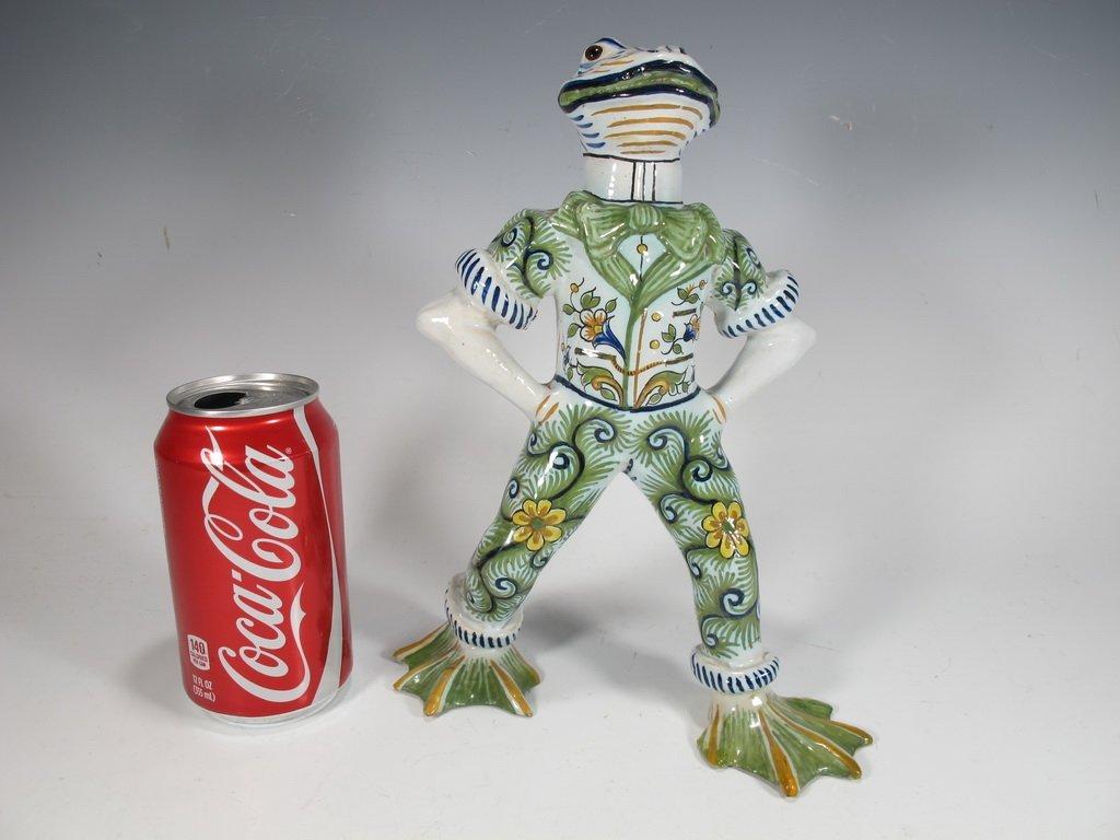 Rare probably Emile Galle ceramic frog statue