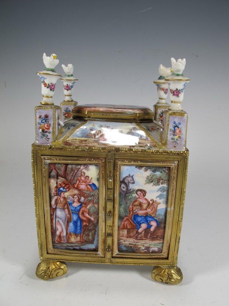 Rare antique viennese bronze enamel miniature chest