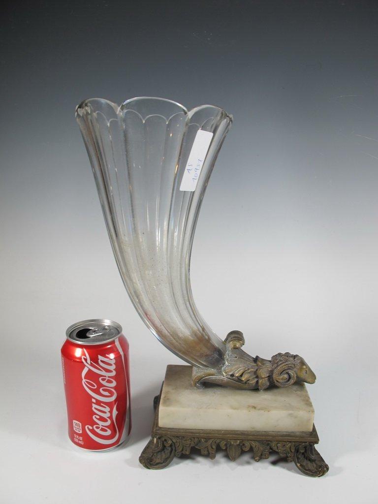 Probably Baccarat crystal, bronze & alabaster vase