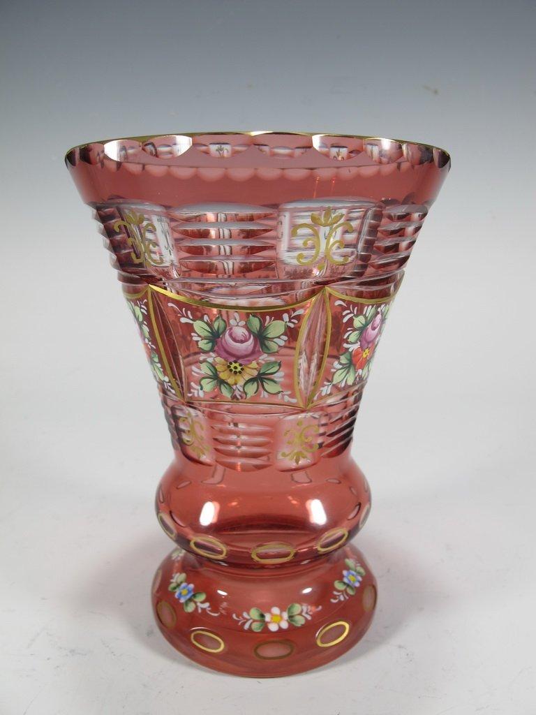 Antique bohemian enamel  vase