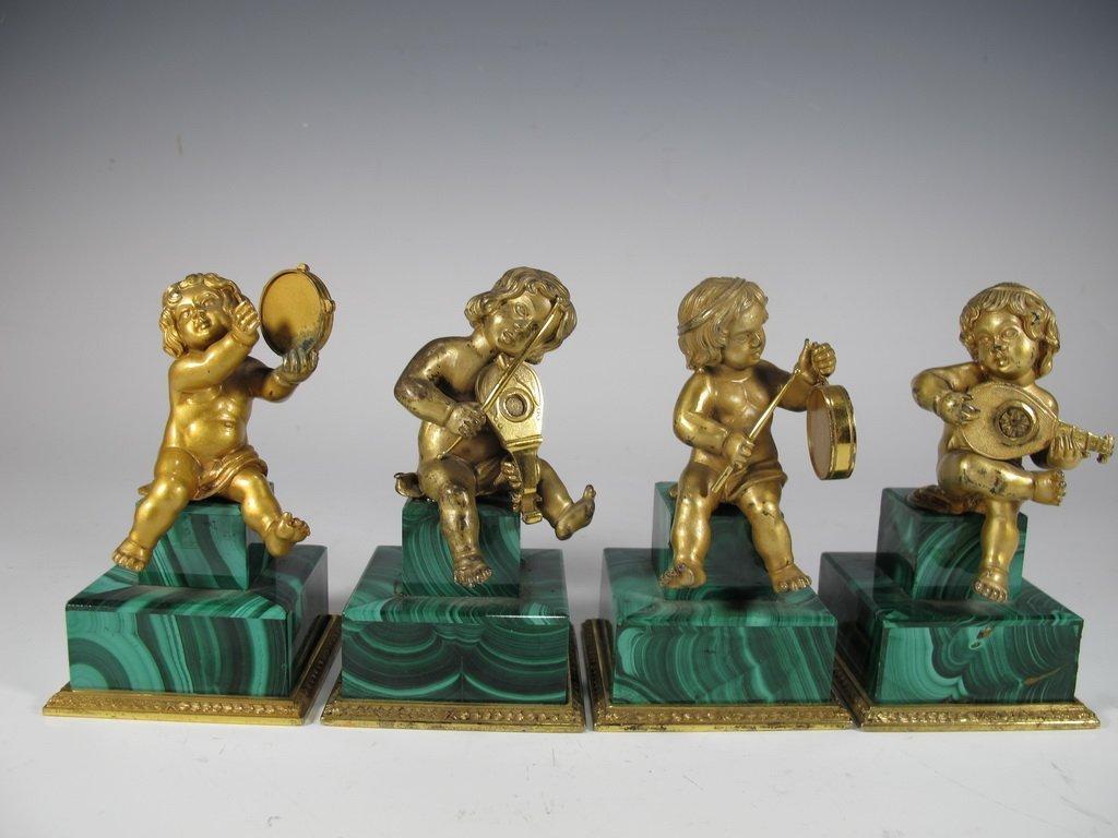 Antique Italian set of 4 gilt 800 silver & malachite