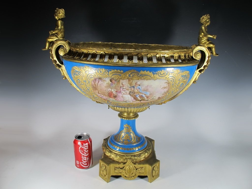 Antique huge French Sevres porcelain & bronze