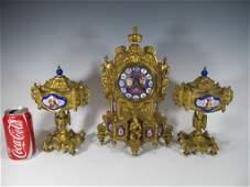 Antique 19th C French bronze  enamel clock set