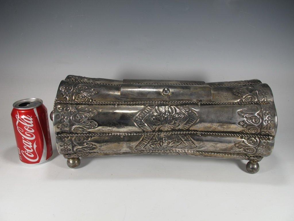 Vintage Judaica Silver Plate Purim Megillah Box