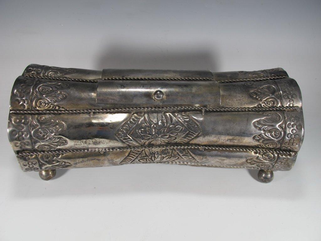 Vintage Judaica Silver Plate Purim Megillah Box - 2