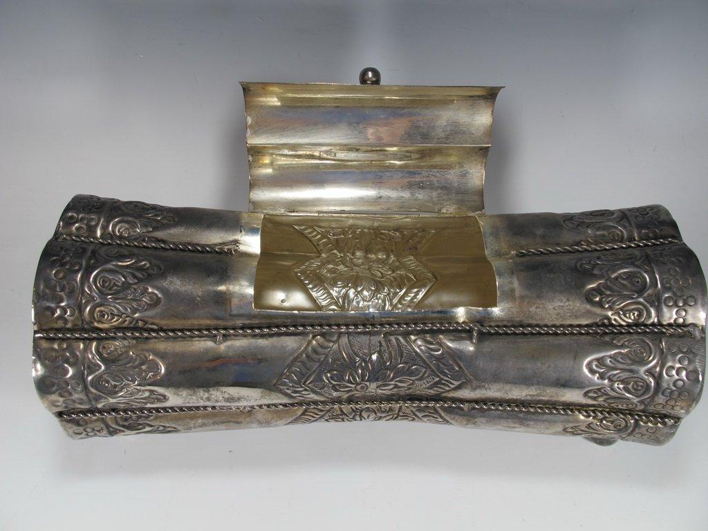 Vintage Judaica Silver Plate Purim Megillah Box - 3