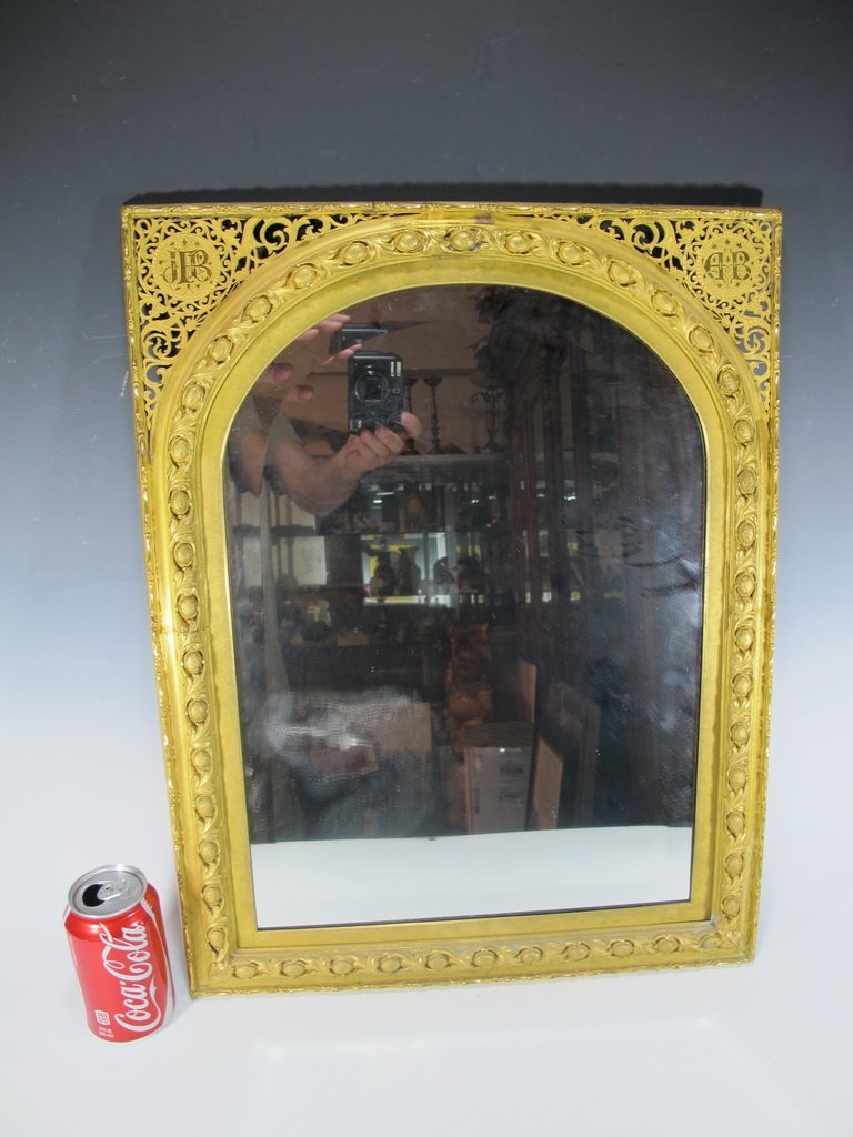 Antique French gilded bronze wall mirror