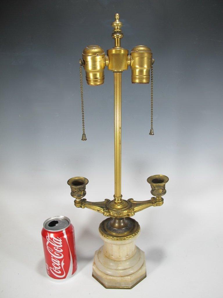 Antique French alabaster & bronze lamp