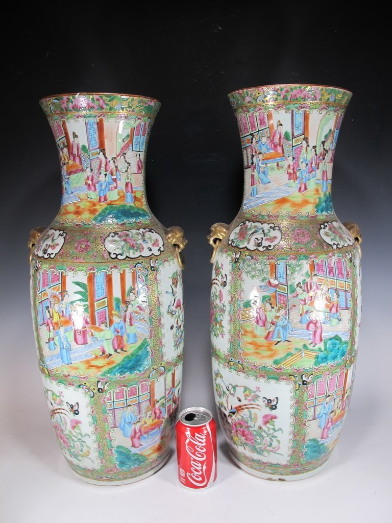 19th C Chinese pair of large porcelain vases