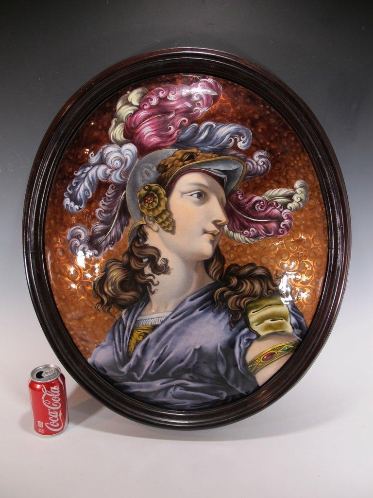 Huge Antique European enamel oval framed plaque