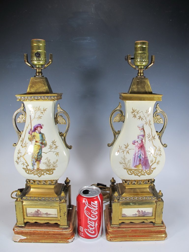 Antique French pair of porcelain & bronze lamps