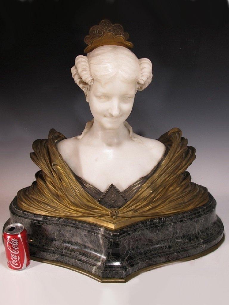 Dominique ALONZO (1910-1930) rare huge bronze & marble