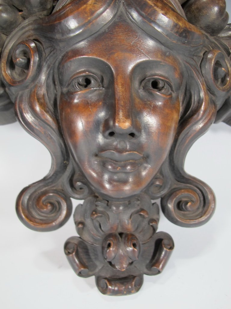 Antique French carved wood ornament - 3