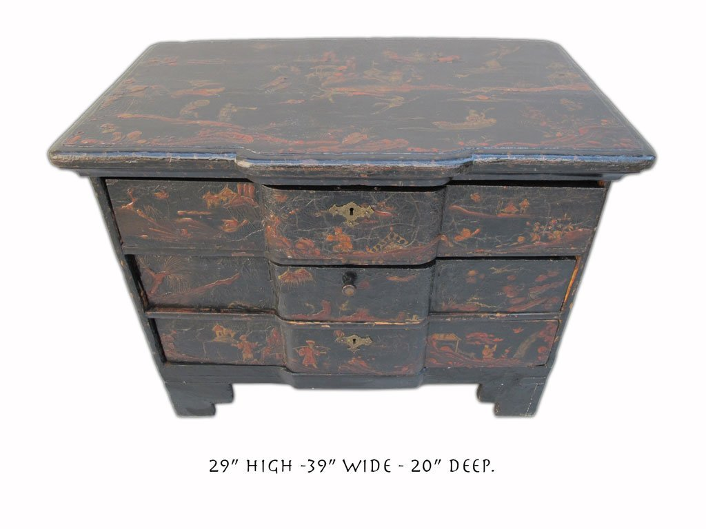19th C Chinese painted chest of drawers