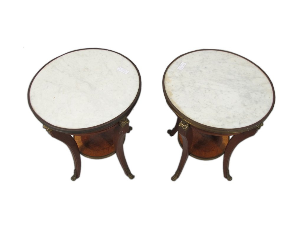 Pair of French Louis XV style marble top tables - 2